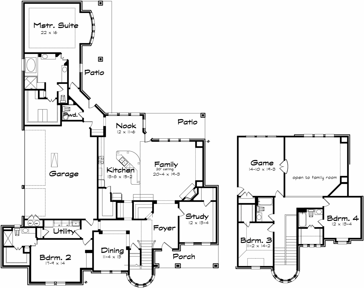 Langstone on two story house plans